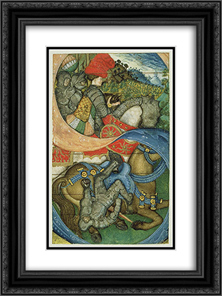 The Conversion of St. Paul 18x24 Black or Gold Ornate Framed and Double Matted Art Print by Pisanello