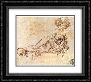The Luxury 22x20 Black or Gold Ornate Framed and Double Matted Art Print by Pisanello