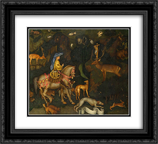 The Vision of Saint Eustace 22x20 Black or Gold Ornate Framed and Double Matted Art Print by Pisanello