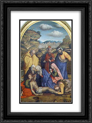 Lamentation with Saints 18x24 Black or Gold Ornate Framed and Double Matted Art Print by Plautilla Nelli