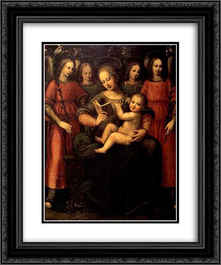 Madonna with child and four angels 20x24 Black or Gold Ornate Framed and Double Matted Art Print by Plautilla Nelli