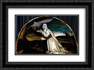 Saint Catherine Receives the Stigmata 24x18 Black or Gold Ornate Framed and Double Matted Art Print by Plautilla Nelli
