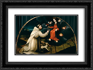 Saint Dominic Receives the Rosary 24x18 Black or Gold Ornate Framed and Double Matted Art Print by Plautilla Nelli