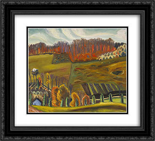 Autumn Fields, Knowlton 22x20 Black or Gold Ornate Framed and Double Matted Art Print by Prudence Heward