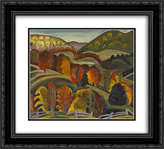Autumn Hills 22x20 Black or Gold Ornate Framed and Double Matted Art Print by Prudence Heward