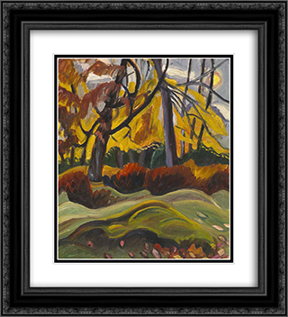 Autumn Landscape 20x22 Black or Gold Ornate Framed and Double Matted Art Print by Prudence Heward