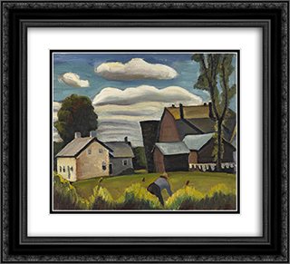 Farm 22x20 Black or Gold Ornate Framed and Double Matted Art Print by Prudence Heward