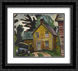 Farmhouse and Car 22x20 Black or Gold Ornate Framed and Double Matted Art Print by Prudence Heward