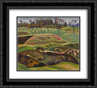 Fields 22x20 Black or Gold Ornate Framed and Double Matted Art Print by Prudence Heward
