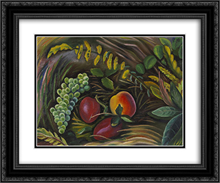 Fruit in the Grass 24x20 Black or Gold Ornate Framed and Double Matted Art Print by Prudence Heward