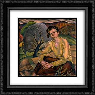 Girl in Yellow Sweater 20x20 Black or Gold Ornate Framed and Double Matted Art Print by Prudence Heward