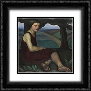 Girl on a Hill 20x20 Black or Gold Ornate Framed and Double Matted Art Print by Prudence Heward