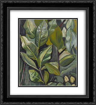 Leaves (Study for Portrait of Barbara) 20x22 Black or Gold Ornate Framed and Double Matted Art Print by Prudence Heward