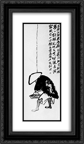 A fisherman with a fishing rod  14x24 Black or Gold Ornate Framed and Double Matted Art Print by Qi Baishi