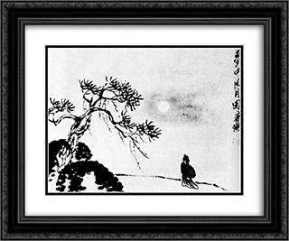 A lone traveler on a moonlit night  24x20 Black or Gold Ornate Framed and Double Matted Art Print by Qi Baishi