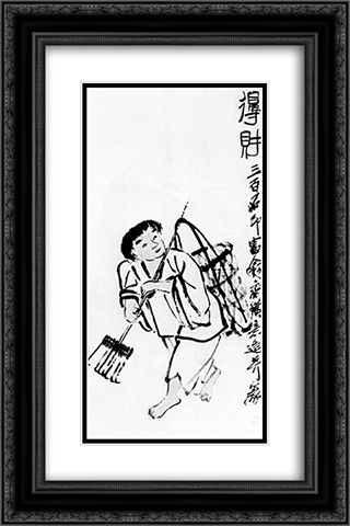 A peasant with a rake  16x24 Black or Gold Ornate Framed and Double Matted Art Print by Qi Baishi