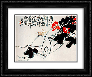 Bindweed, dodder  24x20 Black or Gold Ornate Framed and Double Matted Art Print by Qi Baishi