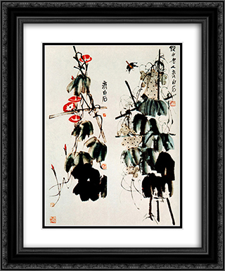 Bindweed and grapes  20x24 Black or Gold Ornate Framed and Double Matted Art Print by Qi Baishi