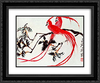 Birds of Paradise  24x20 Black or Gold Ornate Framed and Double Matted Art Print by Qi Baishi