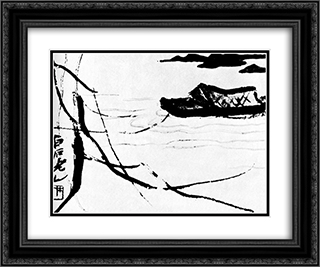 Boat  24x20 Black or Gold Ornate Framed and Double Matted Art Print by Qi Baishi