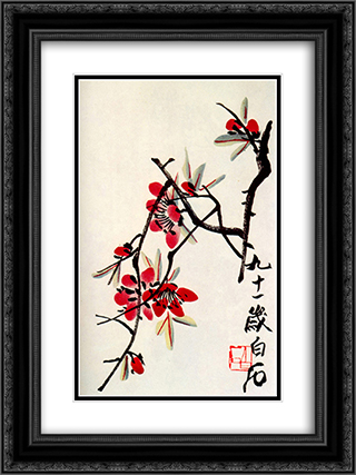 Briar  18x24 Black or Gold Ornate Framed and Double Matted Art Print by Qi Baishi