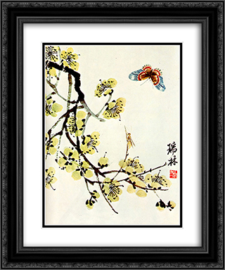 Butterfly and flowering plum  20x24 Black or Gold Ornate Framed and Double Matted Art Print by Qi Baishi
