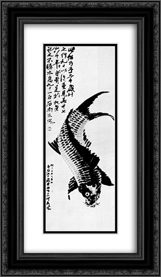 Carp  14x24 Black or Gold Ornate Framed and Double Matted Art Print by Qi Baishi
