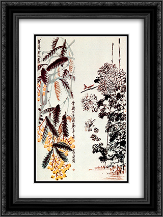 Chrysanthemum and loquat  18x24 Black or Gold Ornate Framed and Double Matted Art Print by Qi Baishi