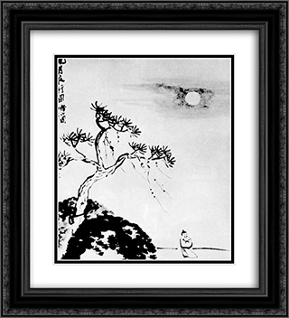 Cold Night  20x22 Black or Gold Ornate Framed and Double Matted Art Print by Qi Baishi