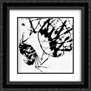 Crabs  20x20 Black or Gold Ornate Framed and Double Matted Art Print by Qi Baishi