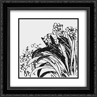 Daffodils  20x20 Black or Gold Ornate Framed and Double Matted Art Print by Qi Baishi