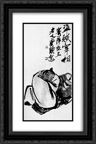 Drunkard  16x24 Black or Gold Ornate Framed and Double Matted Art Print by Qi Baishi