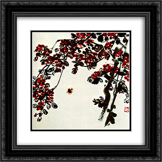 Flowers meyhua  20x20 Black or Gold Ornate Framed and Double Matted Art Print by Qi Baishi