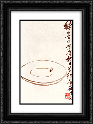 Fly on a platter  18x24 Black or Gold Ornate Framed and Double Matted Art Print by Qi Baishi