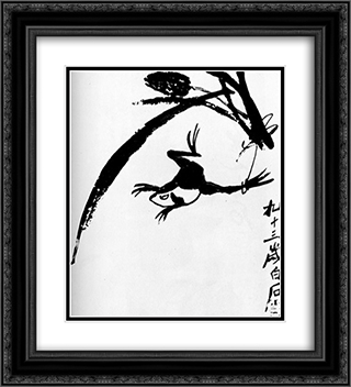 Frog  20x22 Black or Gold Ornate Framed and Double Matted Art Print by Qi Baishi