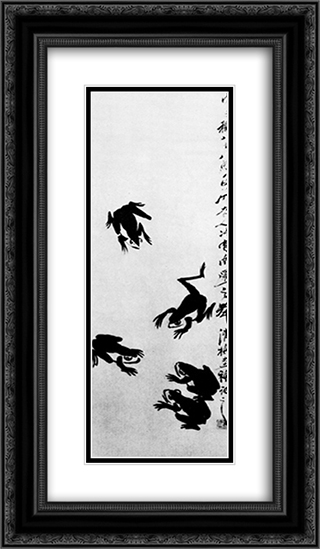 Frogs  14x24 Black or Gold Ornate Framed and Double Matted Art Print by Qi Baishi