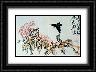 Impatiens and butterfly  24x18 Black or Gold Ornate Framed and Double Matted Art Print by Qi Baishi