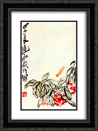 Impatiens and locusts  18x24 Black or Gold Ornate Framed and Double Matted Art Print by Qi Baishi