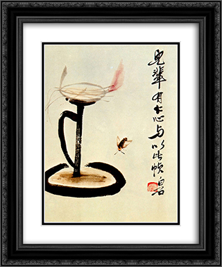Lamp  20x24 Black or Gold Ornate Framed and Double Matted Art Print by Qi Baishi