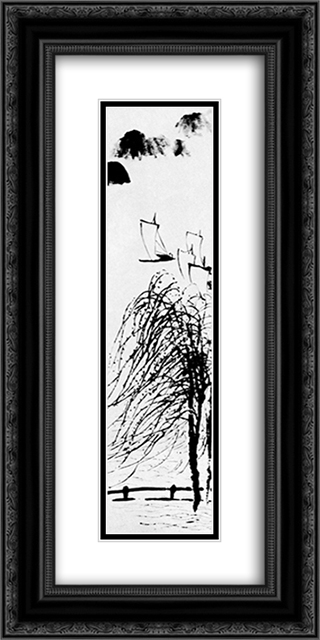 Large wind  12x24 Black or Gold Ornate Framed and Double Matted Art Print by Qi Baishi