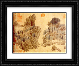 Dwelling in the Floating Jade Mountains 24x20 Black or Gold Ornate Framed and Double Matted Art Print by Qian Xuan