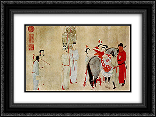 Yang Guifei Mounting a Horse 24x18 Black or Gold Ornate Framed and Double Matted Art Print by Qian Xuan