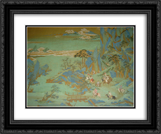 Emperor Minghuang's Journey to Sichuan (detail) 24x20 Black or Gold Ornate Framed and Double Matted Art Print by Qiu Ying