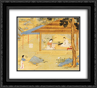 Konghou Player in a Pavillion 22x20 Black or Gold Ornate Framed and Double Matted Art Print by Qiu Ying