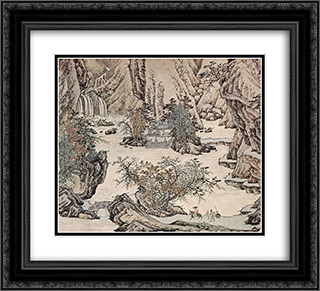Landscape 22x20 Black or Gold Ornate Framed and Double Matted Art Print by Qiu Ying