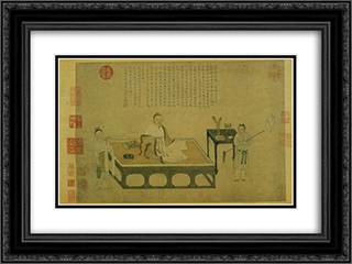 Ni Zan's portrait 24x18 Black or Gold Ornate Framed and Double Matted Art Print by Qiu Ying