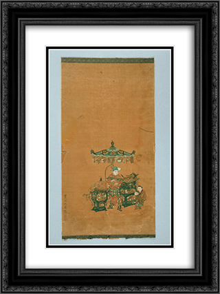 Scroll illustrating The Heart Sutra 18x24 Black or Gold Ornate Framed and Double Matted Art Print by Qiu Ying