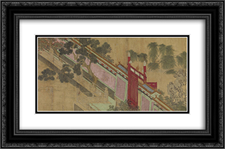 Spring Morning in the Han Palace (View A) 24x16 Black or Gold Ornate Framed and Double Matted Art Print by Qiu Ying