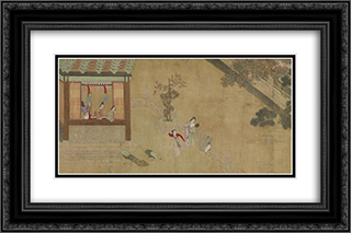 Spring Morning in the Han Palace (View B) 24x16 Black or Gold Ornate Framed and Double Matted Art Print by Qiu Ying