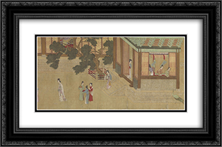 Spring Morning in the Han Palace (View C) 24x16 Black or Gold Ornate Framed and Double Matted Art Print by Qiu Ying
